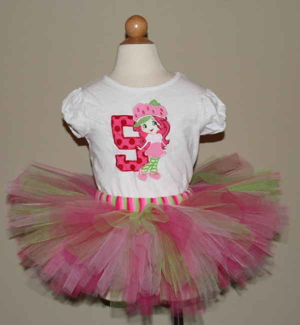 Cute Strawberry Shortcake Birthday Tutu Set. Numbers 1-5
