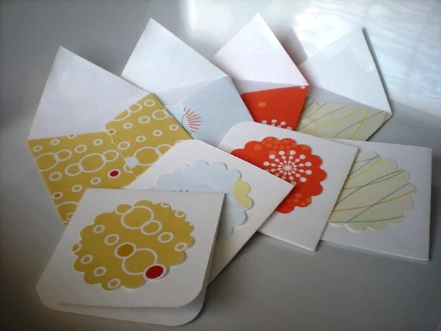 Mini Note Card-Set of 8 Warm Colors with Envelopes