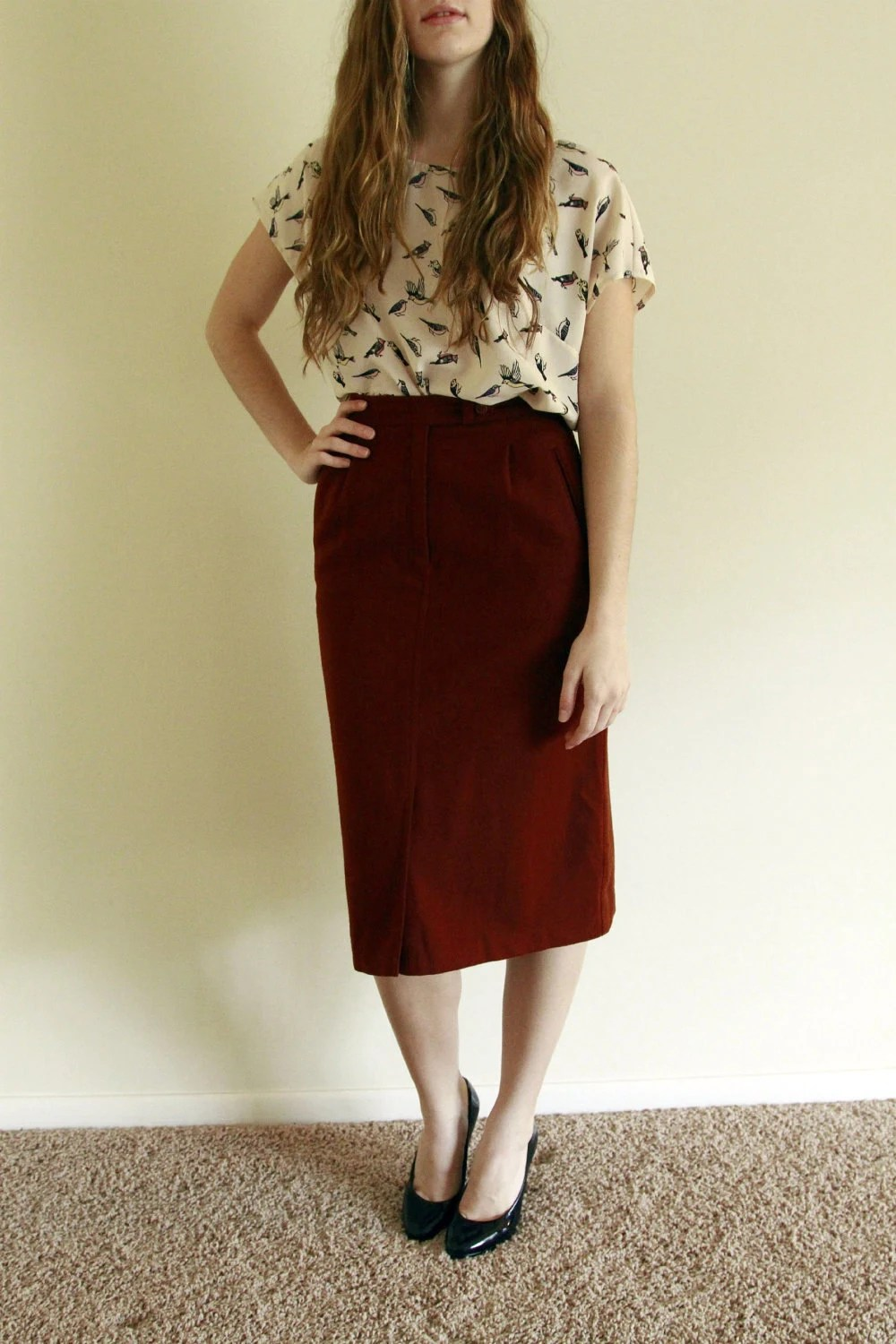 Vintage 1970s Woollen Pencil Skirt by Ateaperdu