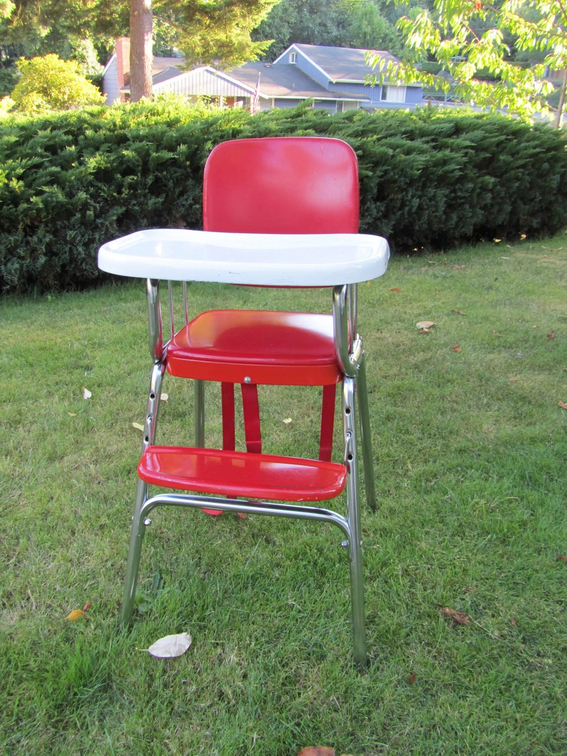 Red High Chair High Chair 1950s Vintage Metal Cherry Red And White Cosco
