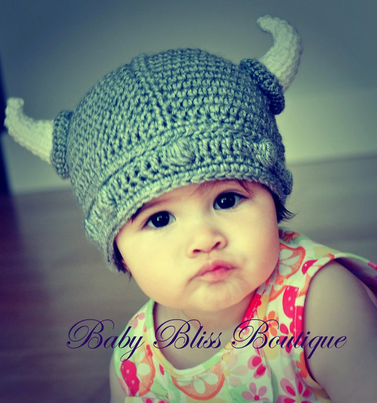 The Viking Hat - 3M to 6M Size - Gray Color Viking Hat with White Horns - Made to Order