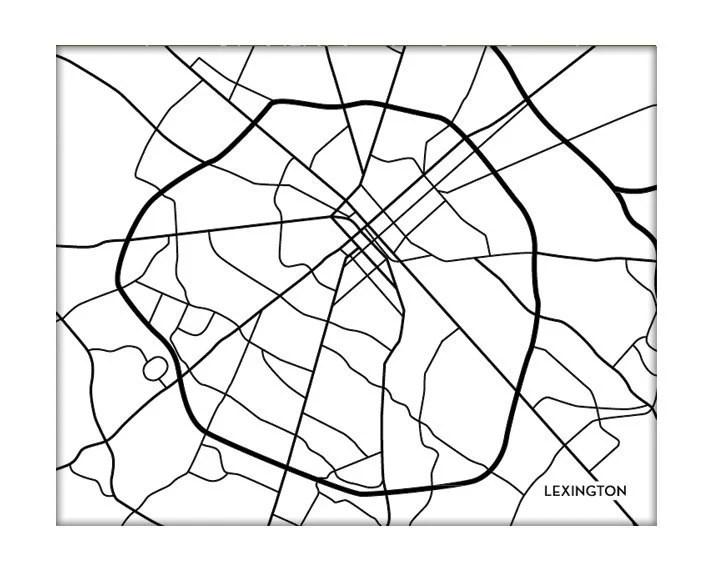 Lexington KY Map Art Print / University of Kentucky Wall