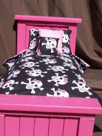Items similar to Girly Skull doll bedding set for American ...