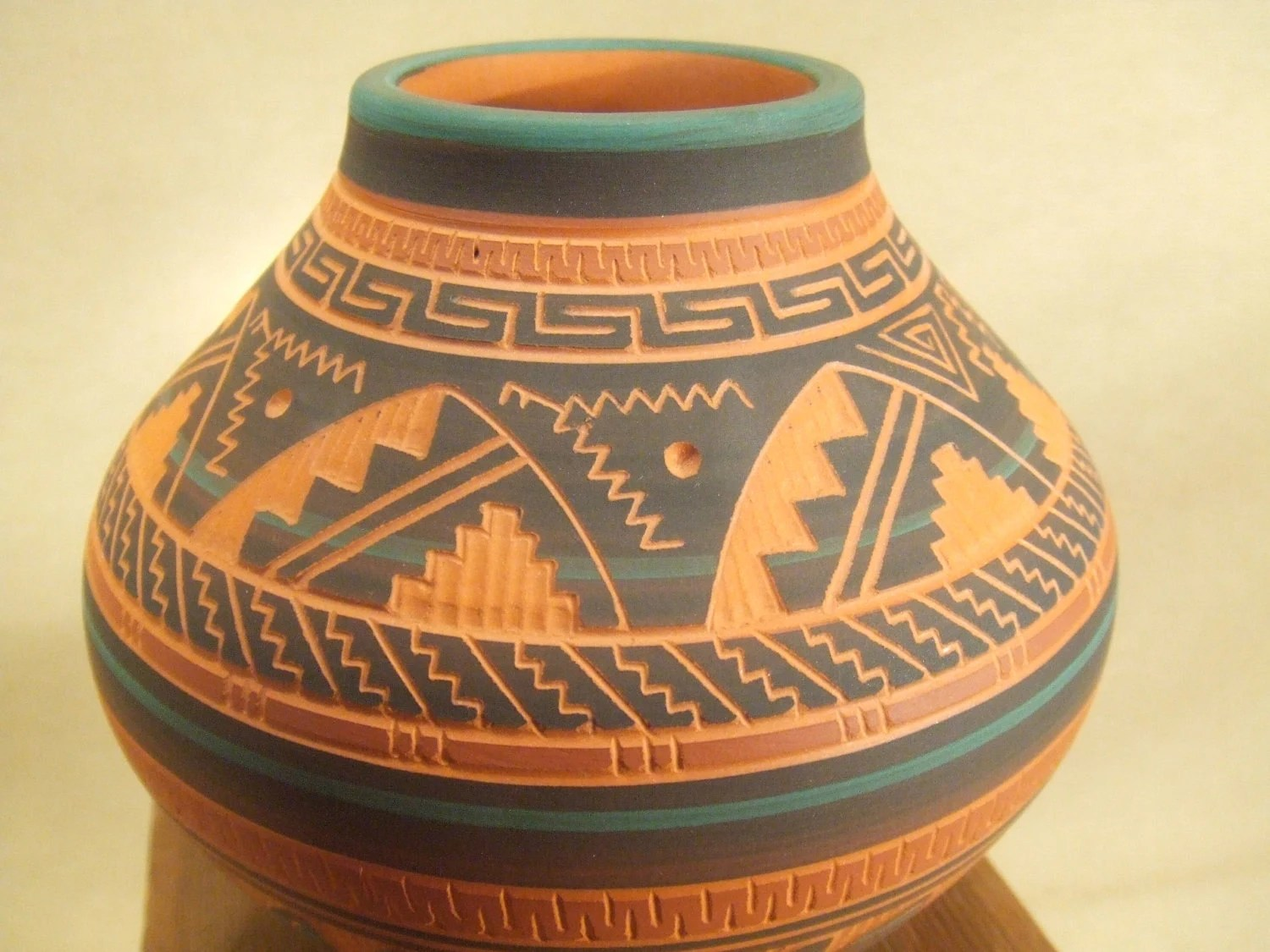 Native American Indian Pottery Navajo Etched Pottery
