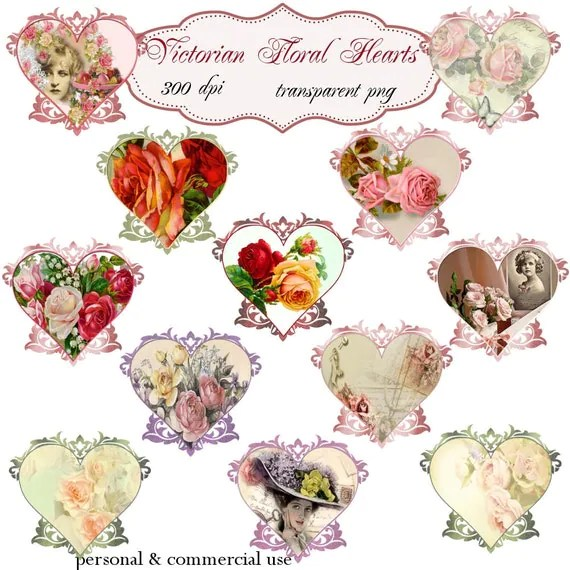 clip art victorian floral hearts