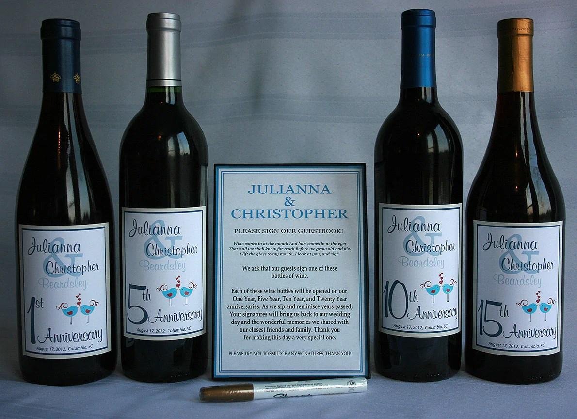 Wine Bottle Wedding Guest Book Kit Gift Boxed Custom Labels