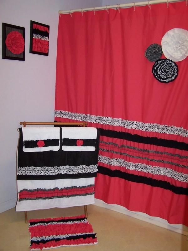 Bathroom Towel and Rug Set Shower Curtain
