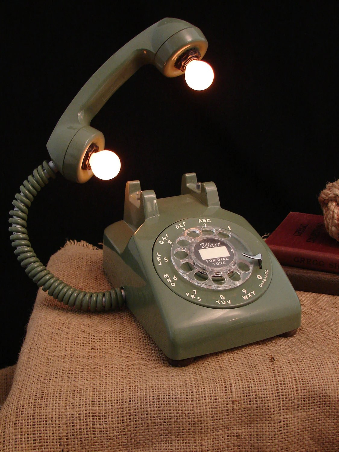 Upcycled Vintage Rotary Dial Telephone Lamp Avocado Green