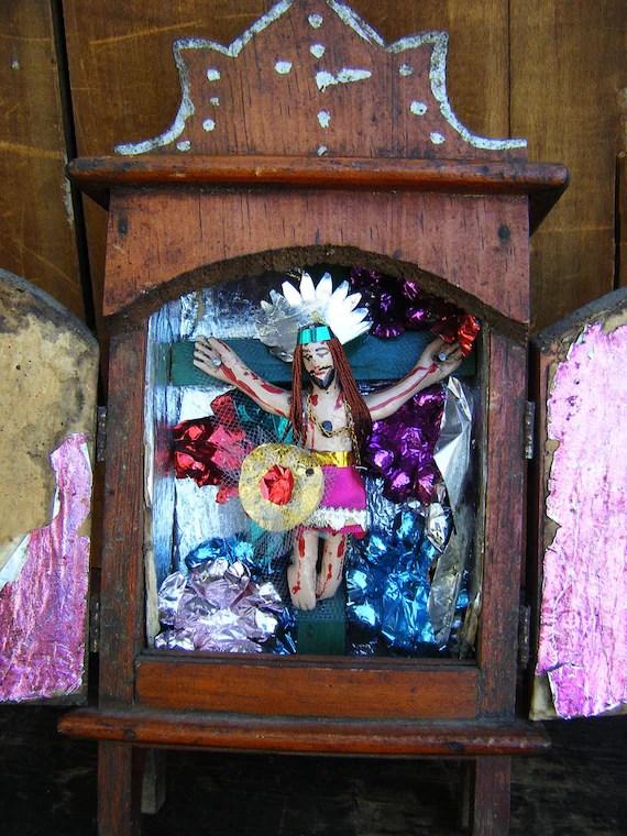 Antique Mexican Nicho Altar Shrine Folk Art by exploremag on Etsy