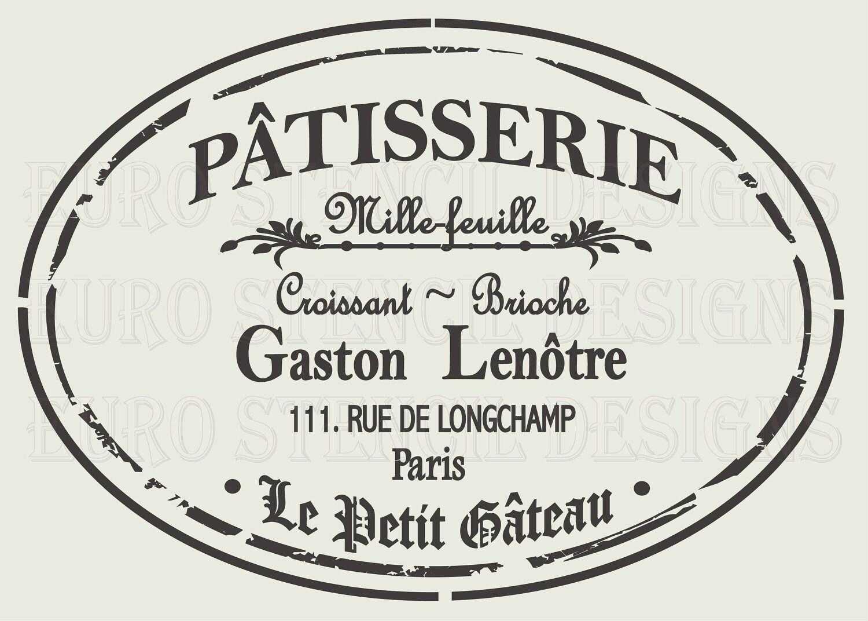 Euro Stencil Design PARIS Patisserie label French used