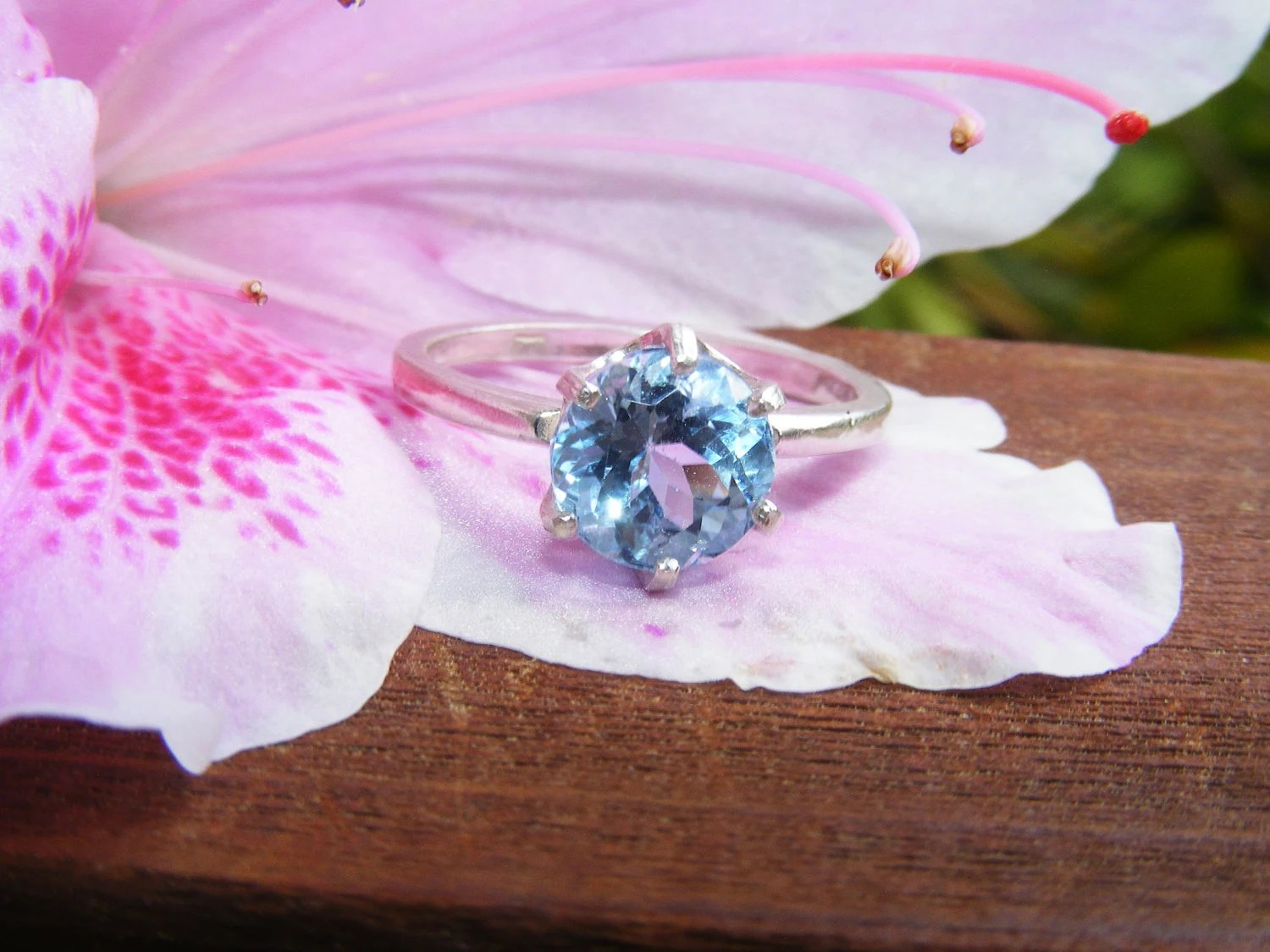 Blue Topaz Solitare and Sterling Silver Ring - GoldiesNaturalGems