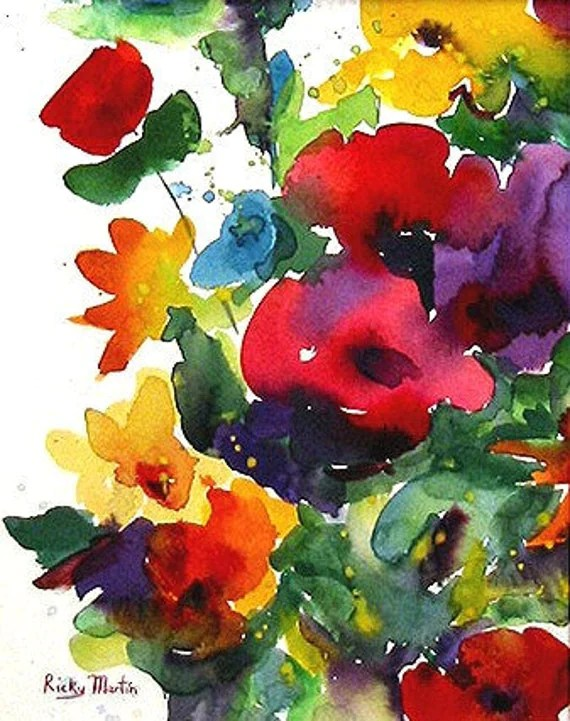 Flower Bunch Watercolor via Etsy