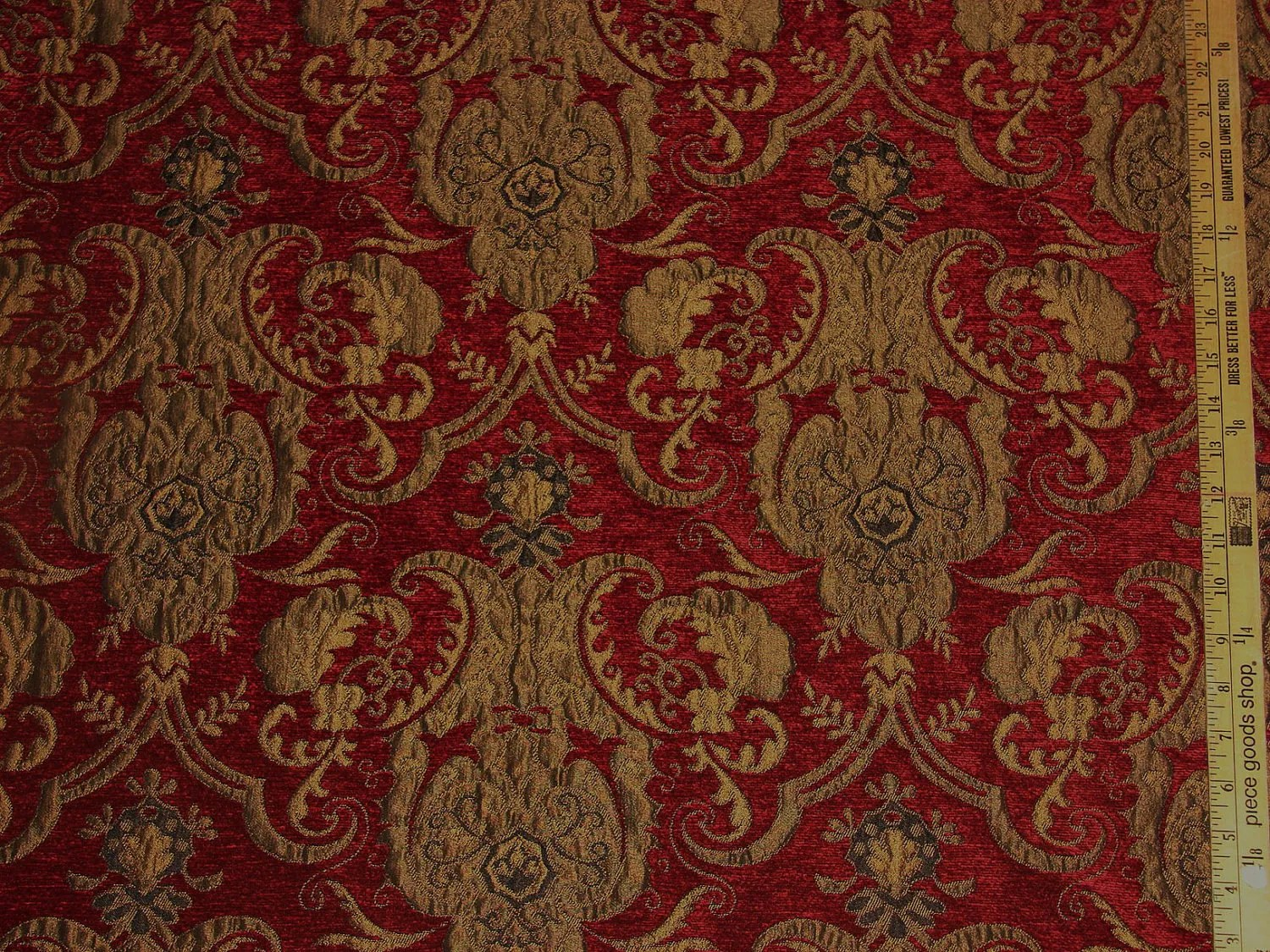 Damask Upholstery Red Fabric