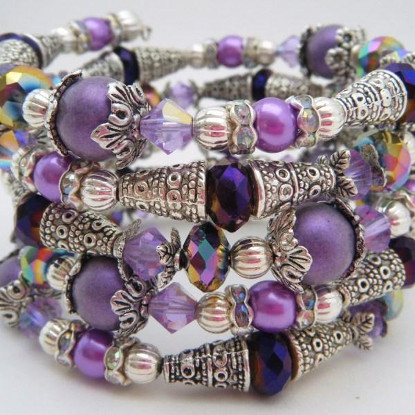 Memory Wire Bracelet Cuff Amethyst Crystal