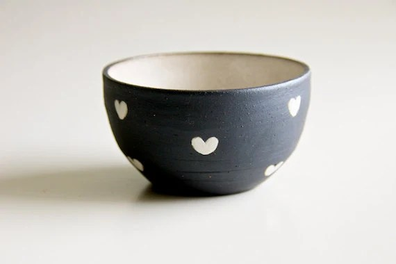 Ceramic Bowl in Black and White Hearts RossLab teamprojectt (made to order) - RossLab