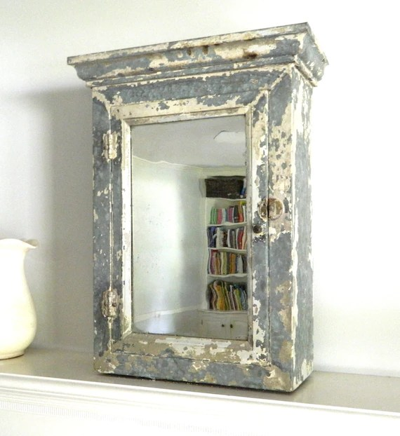 Vintage Medicine Cabinet Chippy White Shabby Chic Metal