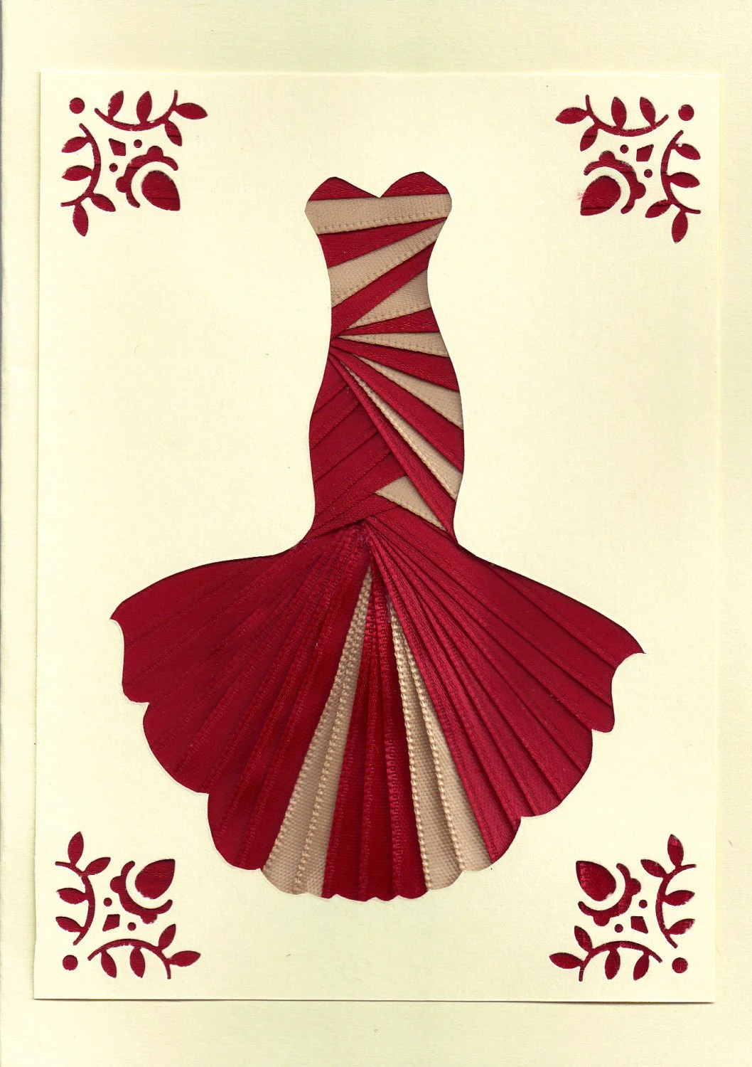 Ribbon Iris Fold Card Dress In Red And Ivory