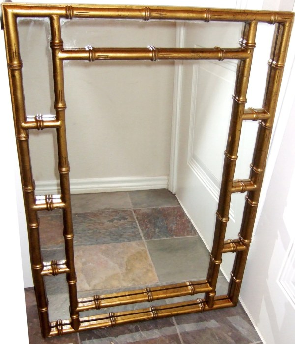 Vintage Hollywood Regency Gold Bamboo Mirror