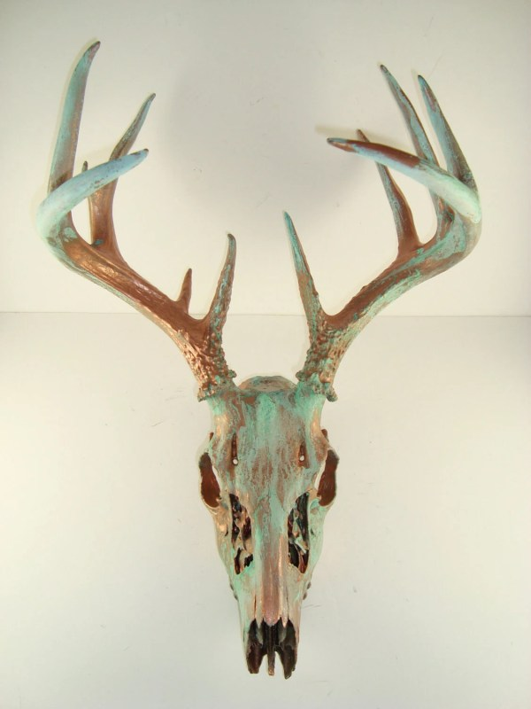 Copper Natural Patina Deer Skull Antlers Art Mayajadecreations