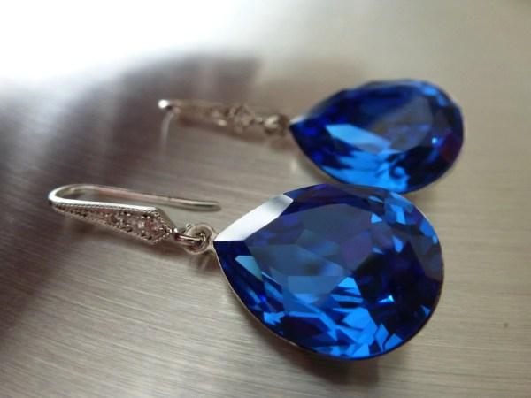 Blue Sapphire Earrings Crystal Teardrop Swarovski