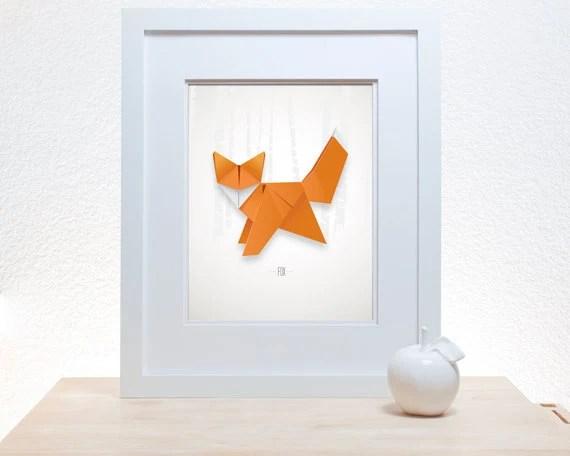 Origami Fox Print - 11x14 modern decor wall poster art paper folding japanese woodland forest creature wild things orange - noodlehug