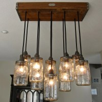 Handcrafted 14 Mason Jar Pendant Light Chandelier w/ Rustic