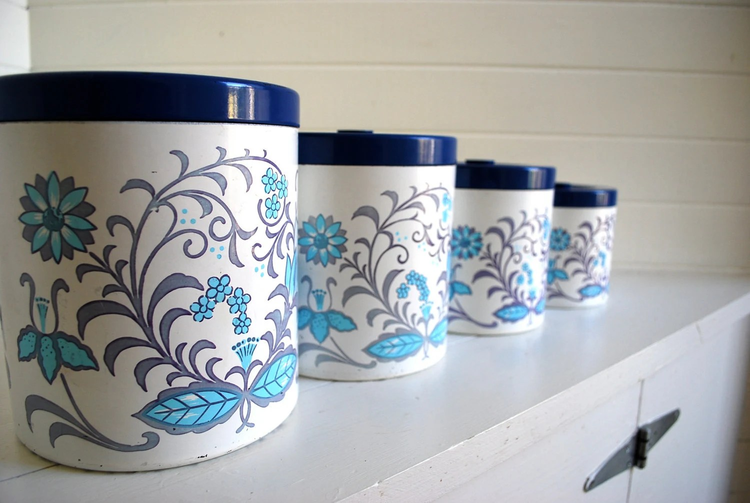 kitchen storage canisters aid mixer folk floral canister set great for your by sweetlingvintage