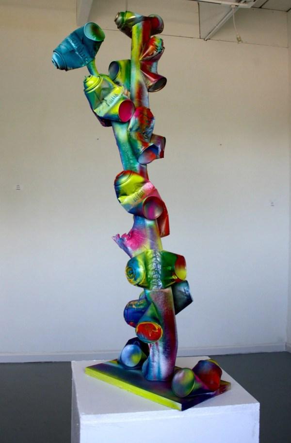 Original Pop Art Sculpture Wood Tree Spray Cans Abstract
