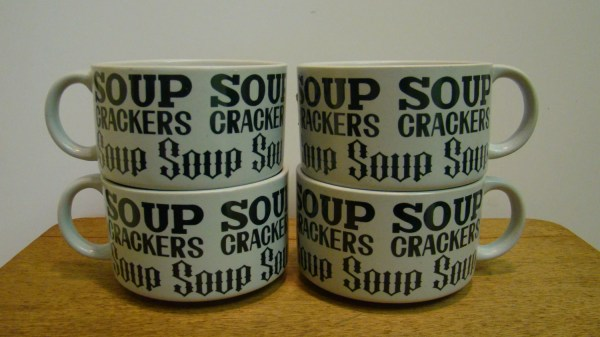 Set Of 4 Vintage Soup And Cracker Mugs With Handles