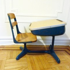 Desk Chair Retro Swivel Outdoor Blue School And