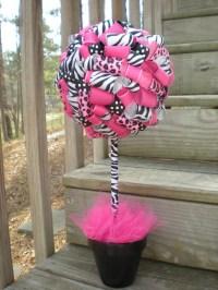 Items similar to Ribbon Topiary in Zebra, Leopard, Hot ...