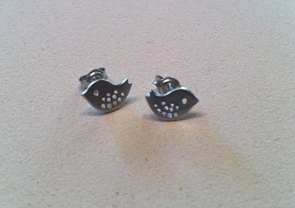 Tiny Silver Baby Bird Stud Earring