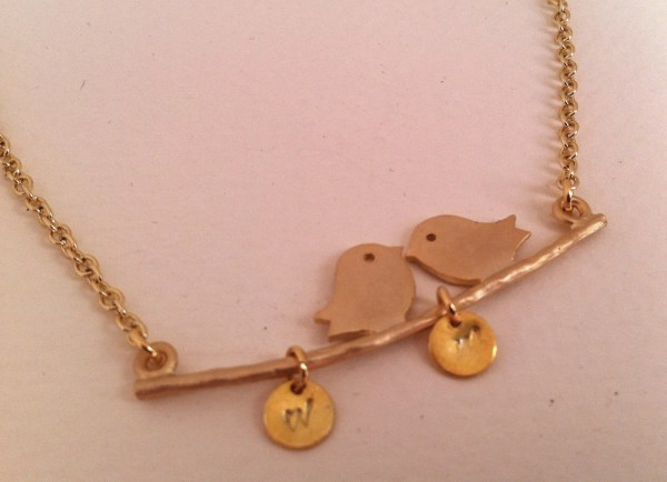 Personalized Necklace Gold Bird Charm