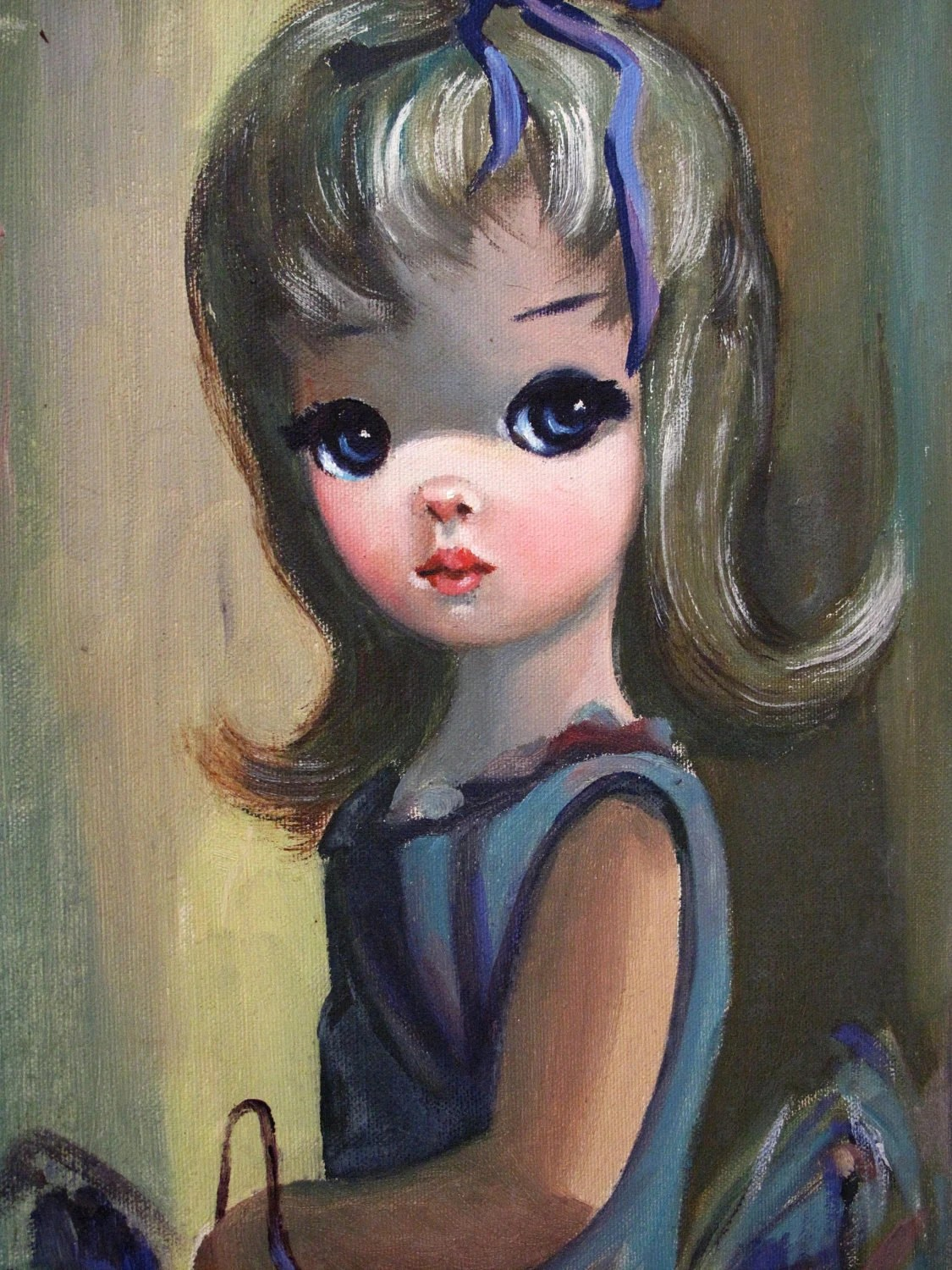 Original 1960s Big Eyed Oil Painting by EDEN by elefantdesign