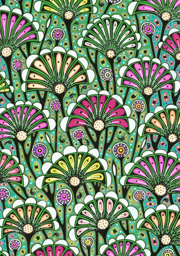 Floral art drawing bright stylized flower pattern art