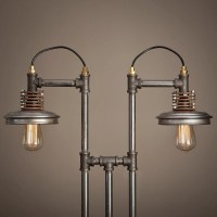 Iron Pipe Lamp with Wood Base