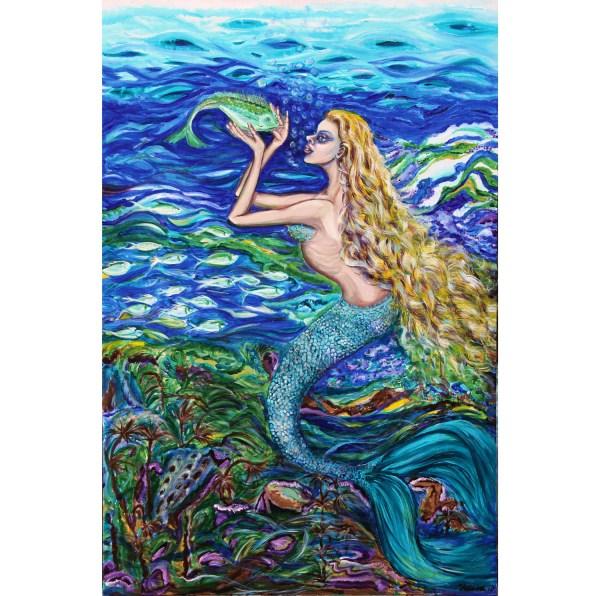 Items Similar Original Acrylic Art Painting. Mermaid Fishnet Yelena Rubin