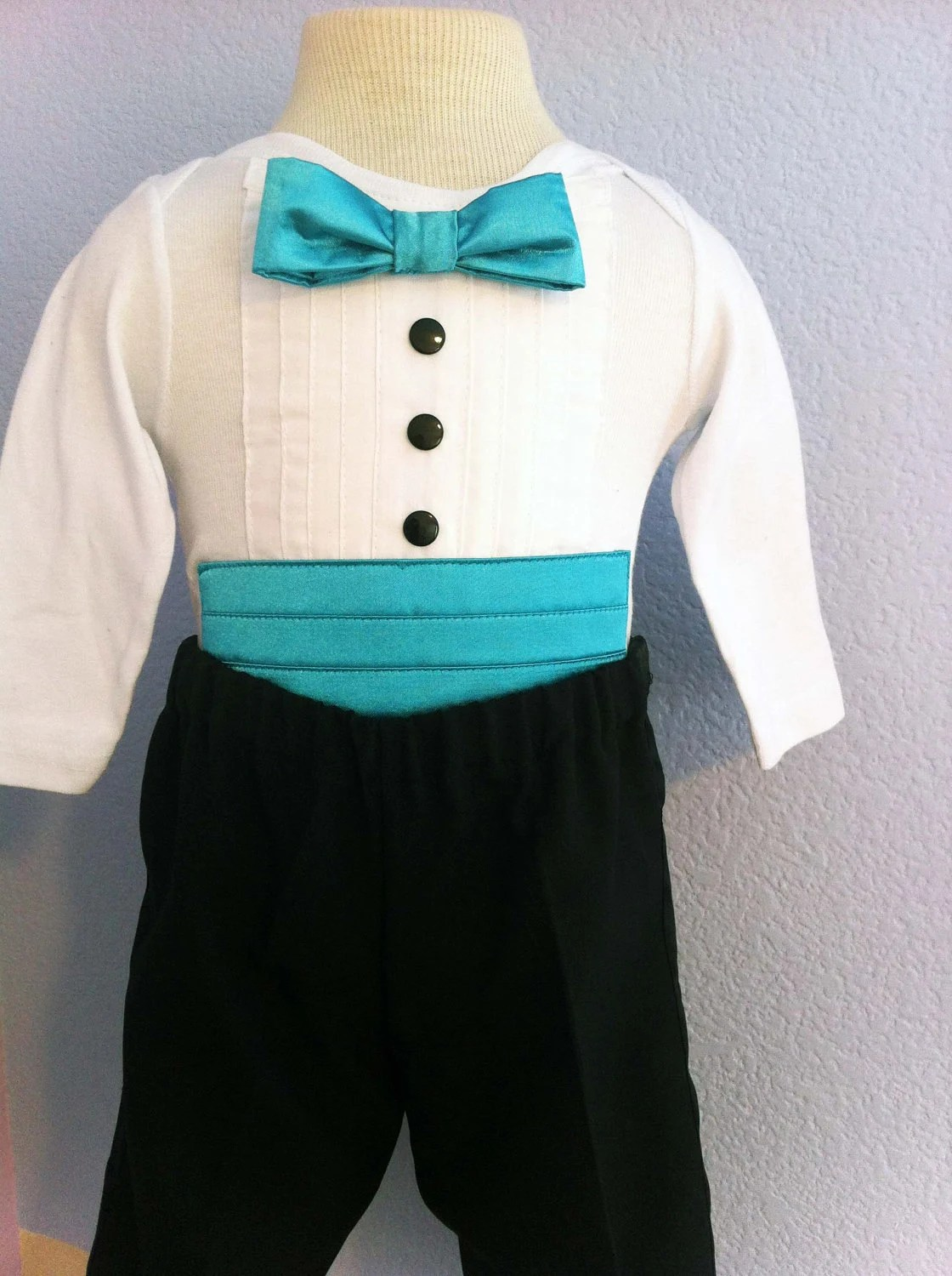 2pc Formal Tuxedo Onesie Cummerbund Teal with Tuxedo Pants (Available in various colors)