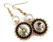Swarovski Earrings Crystal Pearl Black Gold White Pearl with Swarovski Crystal - vantageJewellery