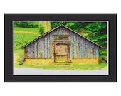 Primitive Barn, Ready to Frame, 4x6 art print  in 5x7 black acid free mat - twistedpixelstudio