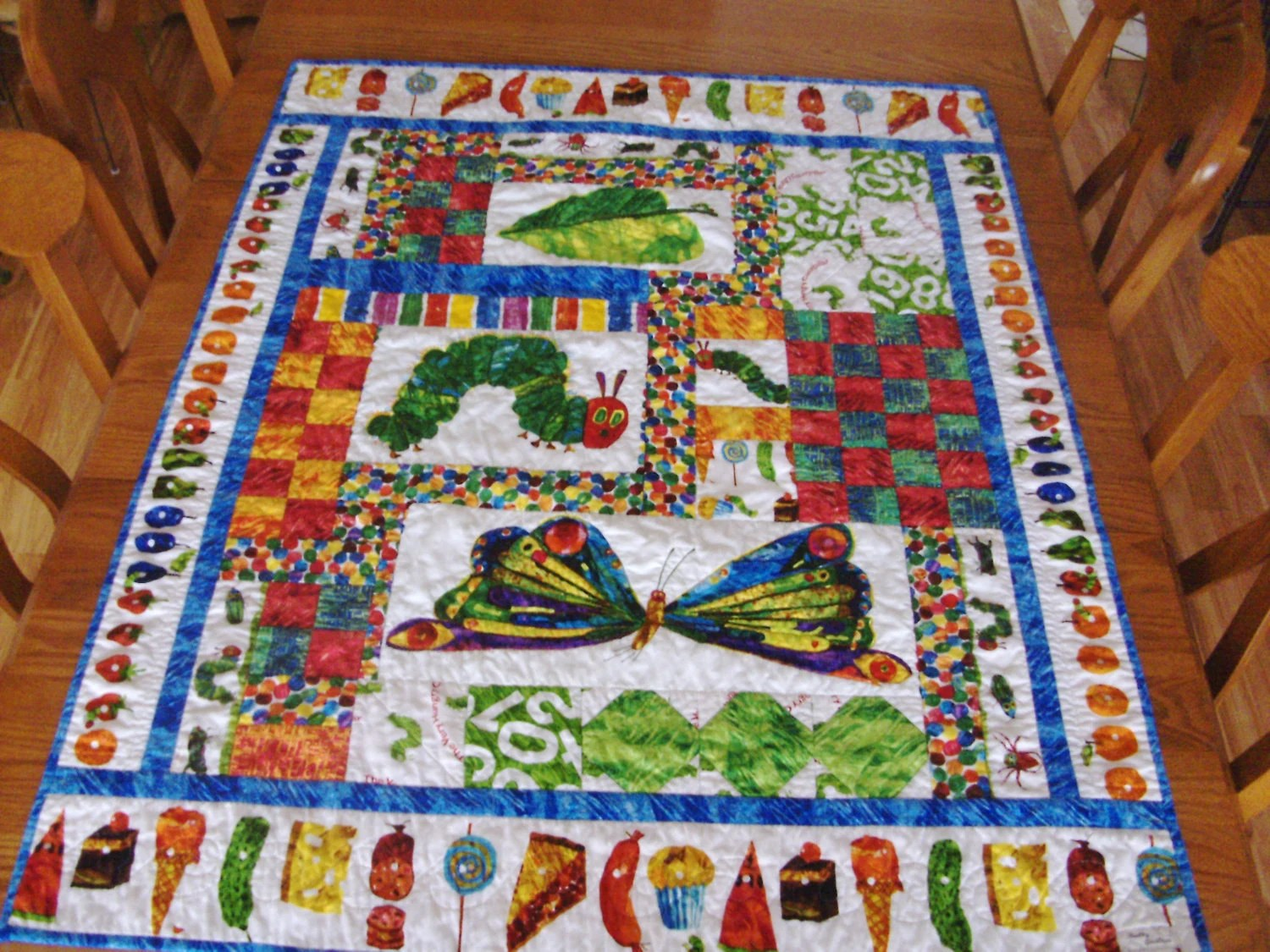 Very Hungry Caterpillar Eric Carle Crib Quilt