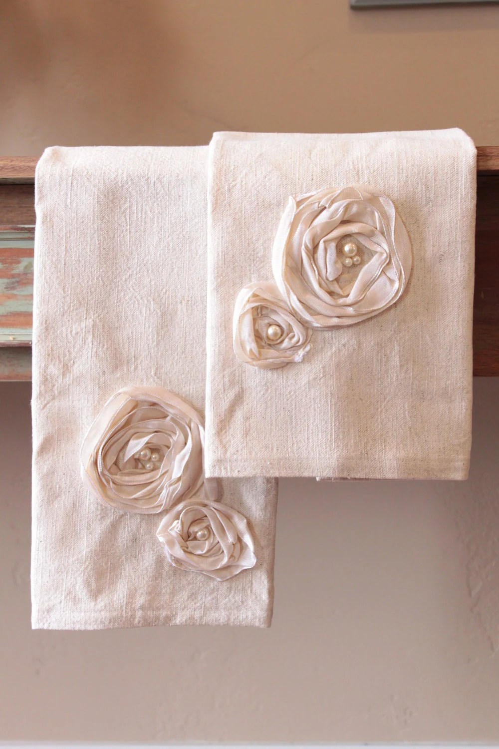Two Decorative Kitchen Hand Towels With Ribbon And Bead