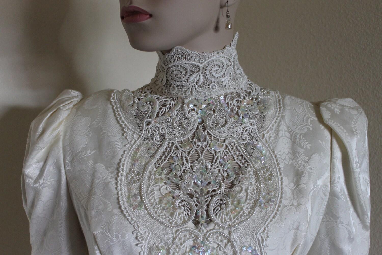 RESERVED Vintage Wedding Dress Brocade Steampunk Victorian
