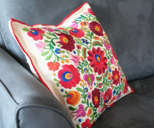 Mexican Hand Embroidered Pillow Cover Vintagefoundnyc