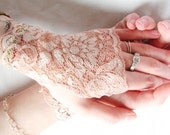 Lace Gloves: Fingerless gloves, Blush, Pink, Peach, Lace Cuffs, Bridal Gloves, Wedding,  Victorian, Prom, Mommy and Me Gloves - Sew4Munchkins