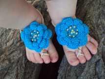 Baby Barefoot Sandals Crochet Flower