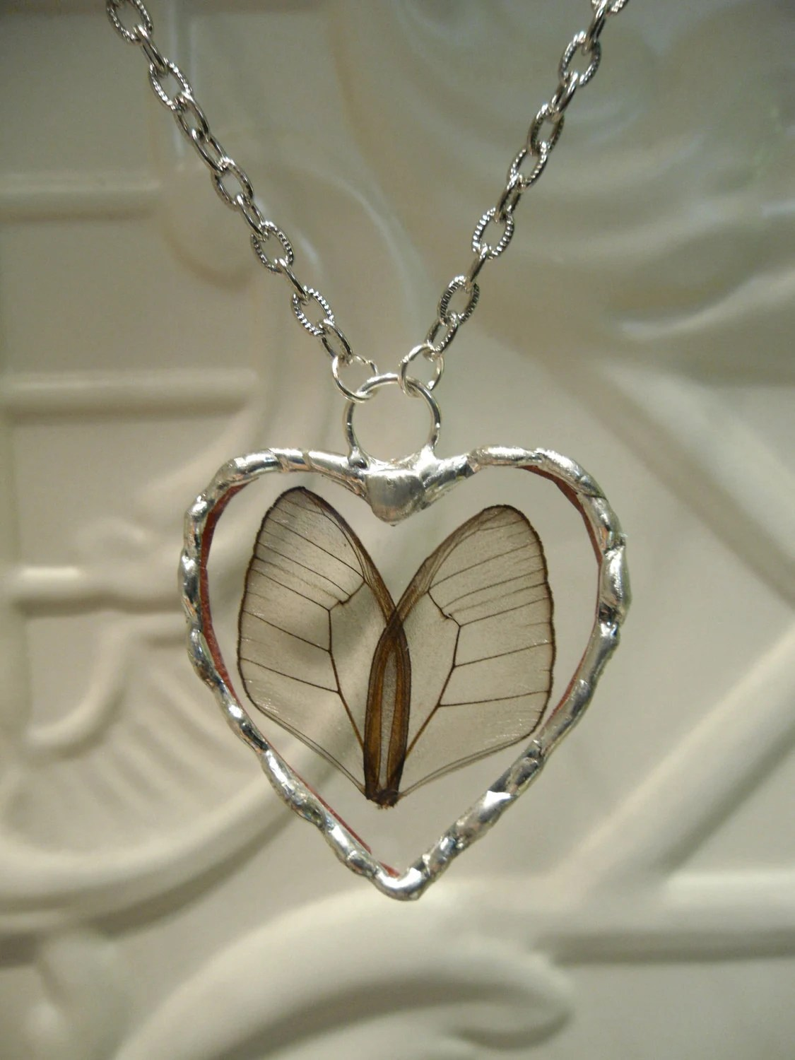 Items similar to Heart Shaped Real Butterfly Wing Necklace