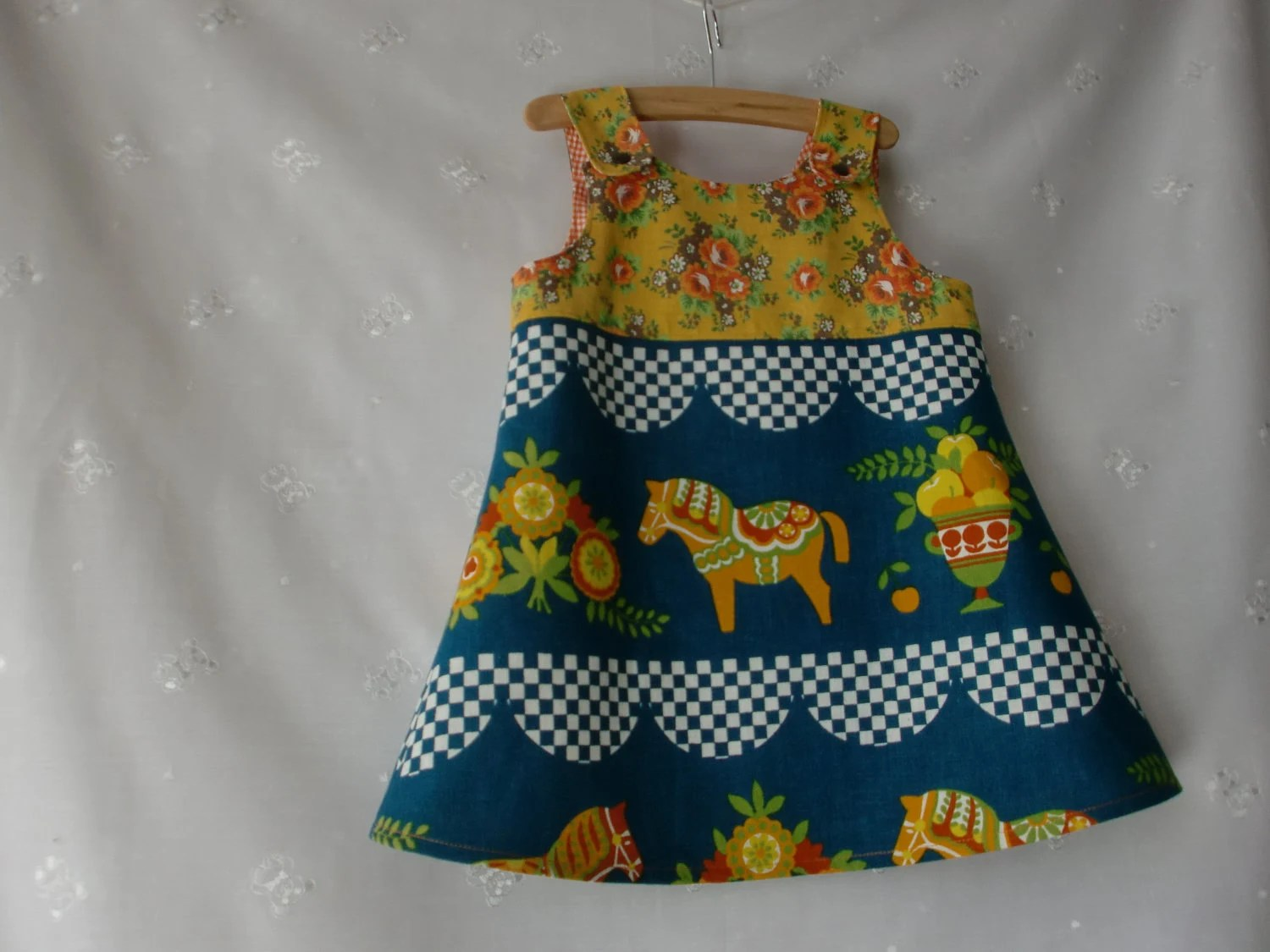 Recycled upcycled vintage fabric folkloric Dala horse dress pinafore jumper dress, boho, girl's dress, baby toddler dress 70's fabric
