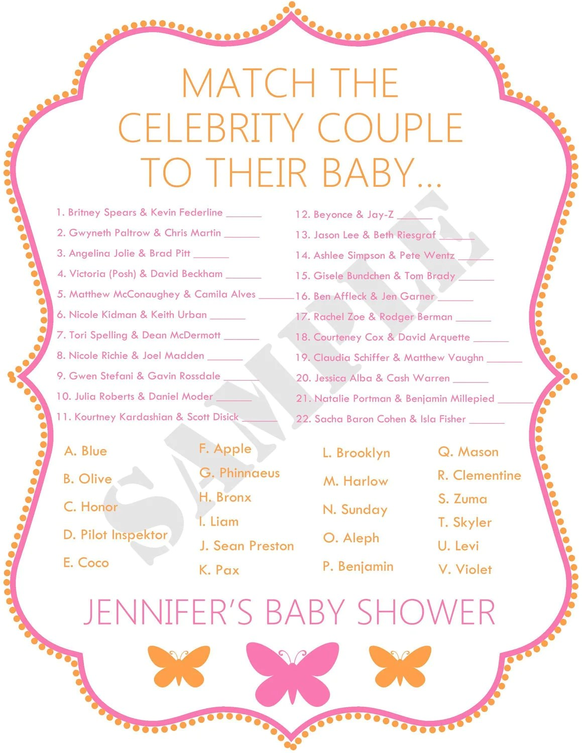 Celebrity Baby Shower Game File Butterflies