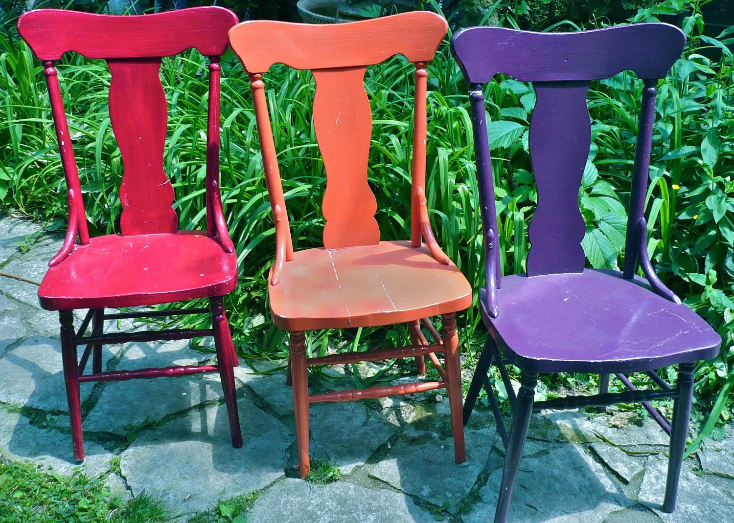 funky wooden chairs chair cover hire jersey channel islands vintage orange wood and bright by casakarmadecor